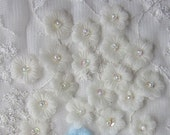 36pc Organza Sequin Beaded IVORY Fabric Flower Applique Handmade Hand Dyed Baby Doll Dress