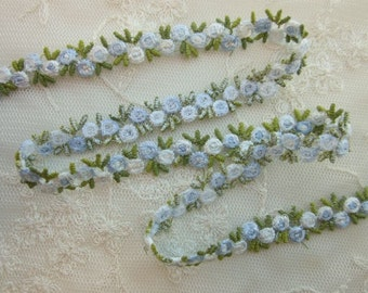 BLUE WHITE Embroidered Rose Bud Flower Ribbon Trim Scrapbook Baby Reborn Doll Clothing Quilt Sewing Couture