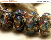 ON SALE 30% OFF Handmade Glass Lampwork Bead Sets - Six Blue Free Style Rondelle Beads 10602521