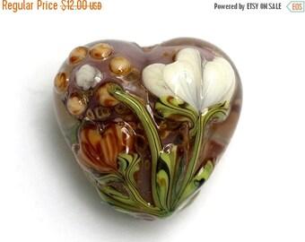 ON SALE 40% OFF Light Orange w/White Floral Heart Focal Bead - Handmade Glass Lampwork Bead - 11814905