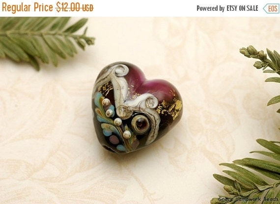 ON SALE 50% OFF Amethyst Treasure Heart Focal Bead - Handmade Glass Lampwork Bead -11818505
