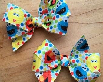 Sesame Street Hair Bow - Elmo, Cookie Monster, Big Bird, Party Favor, Sesame Street Birthday, Elmo Party, Sesame Street Party,