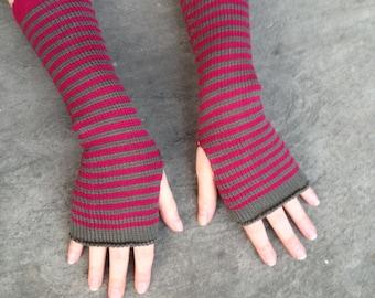 Arm Warmers Fuchsia Khaki Fingerless Gloves Striped Mittens Mitaines Mitones Merino Mohair Armstulpen Wrist Warmers Arm Sleeves