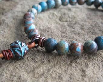 Blue Sky Jasper Stretch Bracelet with Olive Leaf Bead Leather Accent Turquoise Brown Stretch Bracelet