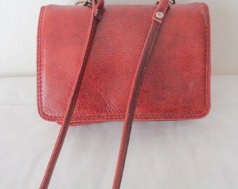 Thick glazed leather wallet , SMALL cross body bag sling bag, coin purse, clutch vintage 90s excellent condition