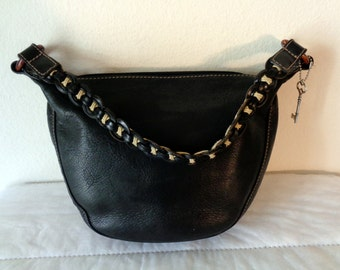 Fossil SMALLER size hobo  purse butter soft genuine leather, top zipper closure, braided  handle vintage unique