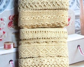 Country Rustic Fine Cream Light Beige Floral Flower Crochet Scallop Cotton Lace Ribbon Trim Set 5 Designs 10 Meters