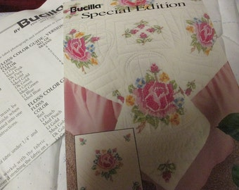 Bucilla Stamped Quilt Squares Heart of Roses 64516 Stamped for Cross Stitch Stamped Goods