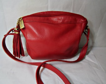 Red leather bag Tignanello leather purse Cross-Body