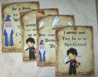 HARRY POTTER - Note Cards–  Unique - Set of 4 notecards with envelopes - MB 127