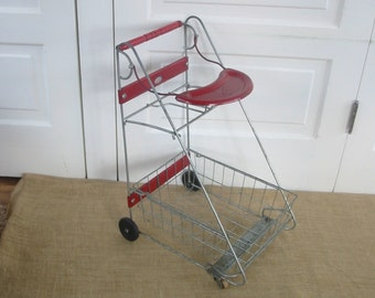 Vintage Baby Doll Stroller, Shopping cart, Child Grocery Cart,  Red Metal Basket