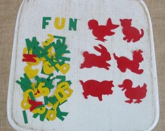 Vintage Letters Animal Educational Alphabet Game Magic Plastic