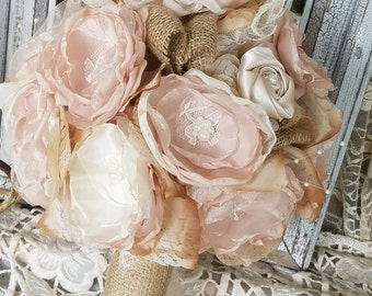 Burlap Bridal Bouquet, Burlap Wedding Flowers, Rustic Chic bouquet, Wedding Bouquet, Silk Flower bouquet, Burlap Wedding, Country Wedding