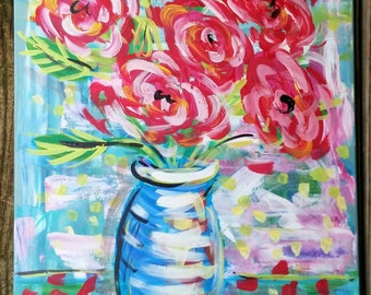 "Abstract Roses in a Vase Still Life Original Painting 18""x24""Ready to Ship YelliKelli"
