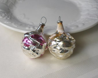 """Two Vintage Feather Tree Ornaments - Tiny Silver Blown Glass Berry Flower Figurals Made in Japan Antique appx 1 3/4"""" for Table Top Tree"""