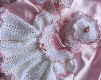 Crochet baby dress, newborn baby dress, christening dress, baby girl dress, baptism  dress, crochet baby booties, crochet baby bonnet
