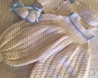 Crocheted Onesie, baby playsuit, baby romper, crocheted baby clothes, crocheted baby boy clothes, baby boy christening set, baby photo prop