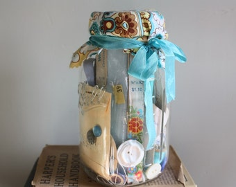 Mason Jar Full of Blue & Green Vintage Trims, Buttons and Happiness