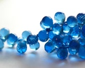 Beautiful, Sparkly Sapphire BLUE Hydro QUARTZ Full Faceted Teardrop Briolette Beads, Parcel of 10 Beads
