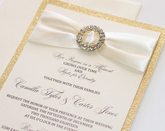 Elegant Wedding Invitation - Glitter Wedding Invite - Vintage Wedding Invitation, Ivory Creme Champagne Gold Glitter - Camilla Sample