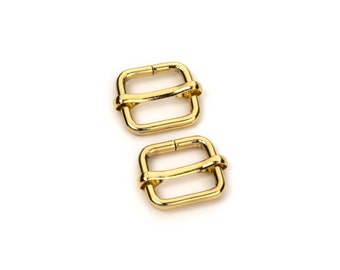 "30pcs - 3/8"" Adjustable Slide Buckle - Gold - Free Shipping (SLIDE BUCKLE SBK-101)"
