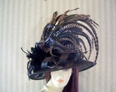 "Black Kentucky Derby Hat, Preakness, ""Feather hat"" Belmont, Victorian, Ascot Races Hat By Ms.Purdy"