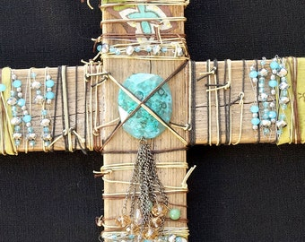 Turquoise and Chartreuse Cross
