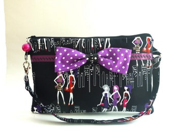 Rockabilly clutch, zippered wristlet clutch, evening bag, tablet bag, wedding purse, Kindle case, bridesmaid gift, makeup bag, boho clutch