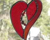 Be Still my Heart  Beaded Stained Glass Heart,   raidiant Red, jewels and crystals