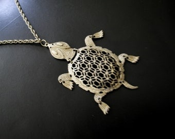 Mod vintage 60s silvertone metal necklace with  filigree , large, turtle pendant.