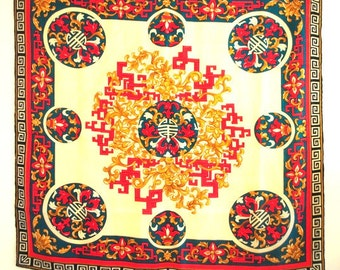 Luxurious vintage 80s multicolor silk, large scarf with oriental style design. Made by Bill Blass.