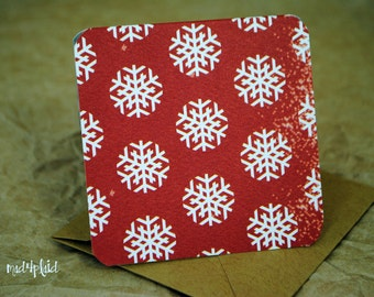 Blank Mini Holiday Set of 10 Cards, Mini Snowflake Design with Contrasting Pattern on the Inside, Natural Kraft Envelopes, mad4plaid