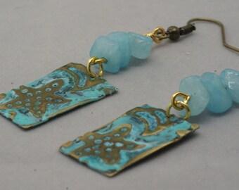 Starfish Earrings, Starfish Jewelry, Aqua Earrings, Blue Earrings, Handmade Patina Earrings, Beach Jewelry, Ocean Earrings,  Gift for Her