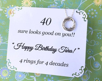 40th BIRTHDAY Gift  Necklace With POEM 4 Sterling Silver Inseparable Rings for 4 Decades Happy Birthday Gift Sister Friend 4 Connected Rings