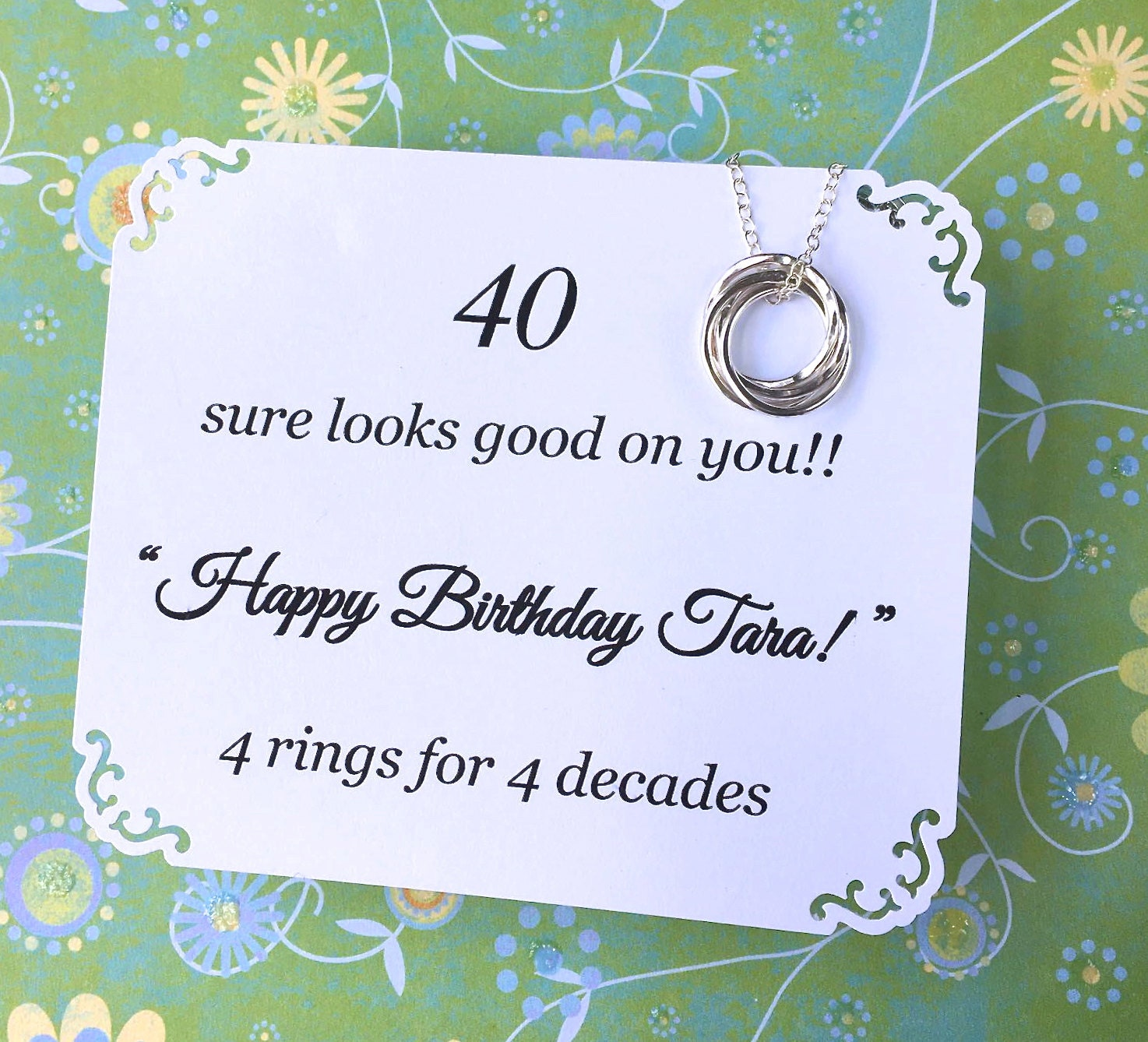 40th BIRTHDAY Gift Necklace With POEM 4 By GloriousGirlJewelry