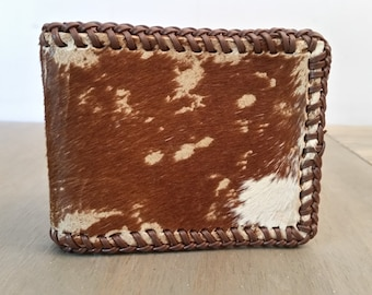 Vintage Cow Hide or Pony Hide Wallet or Billfold with Leather Lacing, Western Wear Leather Cowboy Wallet with Hair Hide