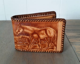 Vintage Hand Tooled Leather Western Style Bi Fold Wallet or Billfold with Walking Horse and Blank Back for Personalizing