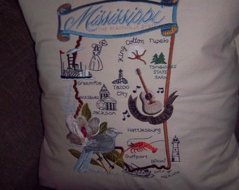 Embroidered State Map Pillow Mississippi