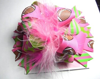 Over the Top football Bow-Boutique Style Bow-OTT Bow-Girl bow-pink and lime