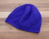 Crochet Boho Beanie - Lace Beanie - Skull Cap - Mesh Hat - Deep Purple