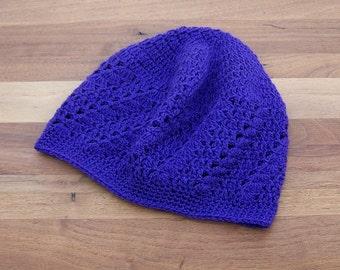 Crochet Boho Beanie - Kufi Hat - Lace Beanie - Skull Cap - Deep Purple
