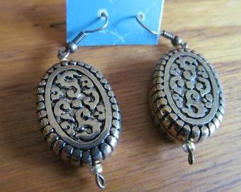 pattern dangle post earrings