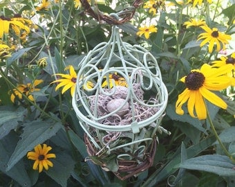 Vine Bird Cage Nest Love Nest with Eggs Natural Leaves Jasmine, Wicker, Ring Bearer Pillow Alternative, Natural Rustic Wedding, GREEN, GCG