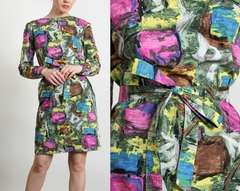 ON SALE Multi Color 60s Dress . Abstract Print