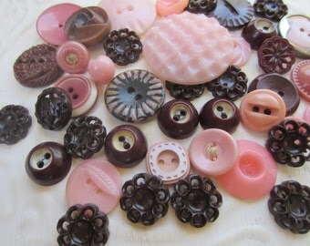 Vintage Buttons - Cottage chic mix of pink and brown lot of 41 old and sweet(sept 1b)