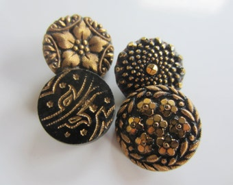 Vintage Buttons - beautiful lot of 4 black pressed glass,hand painted gold, (nov 204B)