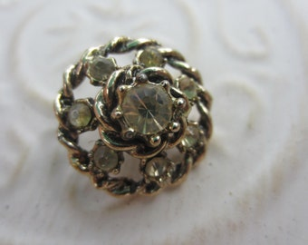 Vintage Button - 1 beautiful design rhinestone embellished, silver antique finish metal (lot apr70b)