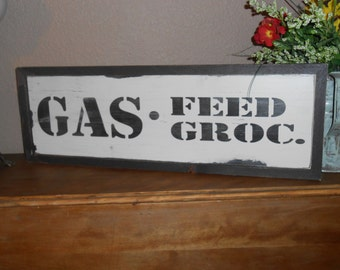 "GAS FEED GROC.Vintage Antique Style primitive wood sign 9"" X 26""w/raised border"