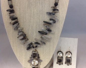Classy Statement Set Black Tourmaline in Quartz White Topaz Black Onyx  Glass Beads Black Silk