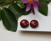 209 Fused dichroic glass earrings, round, dark red, transparent
